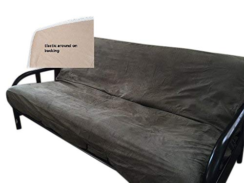 OctoRose Full Size Elastic Around on Backing Bonded Micro Suede Easy Fit Fitted Futon Cover (Olive Green)