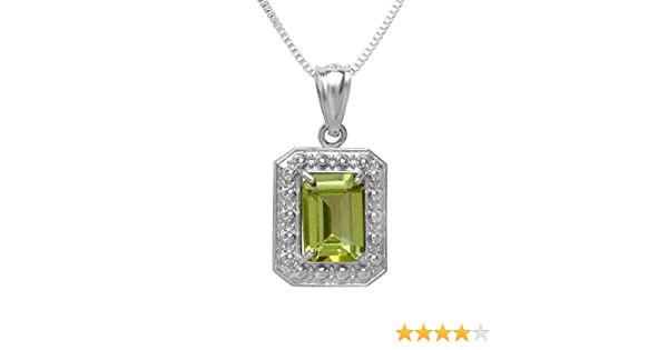 Sterling Silver ctw Dazzlingrock Collection 0.75 Carat Real Genuine Green Peridot 925 Solitaire Emerald Shape 0.70 Inch Pendant 18 Inch Chain Included