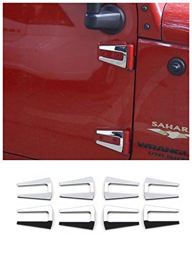 FMtoppeak 3 Colors Door Trim Engine Hood Hinge Cover trims 8Pcs ABS For 2007-2017 Jeep Wrangler JK 4 Door (Silver Mirror)