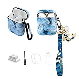 MOLOVA Case for Airpods 1&2 Case, Ice Blue Marble with Koi Fish Airpods Hard Protective Cover Shock Proof Compatiable…