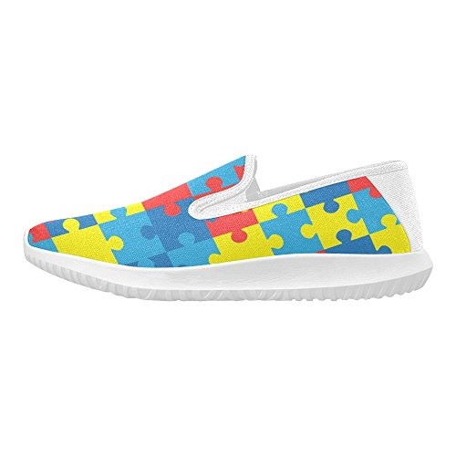 Puzzle Di Interestprint Con Colori Complementari Divisi Womens Slip-on Mocassini Scarpe Di Tela Sneakers Multi Moda 1