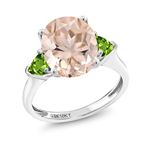 Gem Stone King 3.72 Ct Oval Peach Morganite Green Peridot 10K White Gold 3 Stone Engagement Ring (Size - Gem Natural Oval Peach