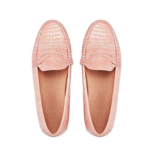 JENN ARDOR Penny Loafers for Women: Vegan Leather Slip-On Comfortable Driving Moccasins Ballet Flats Pink 8 M US