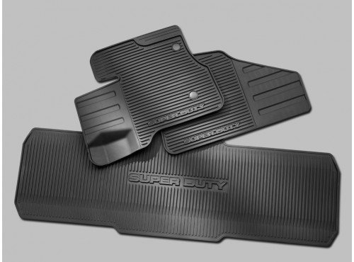 Oem Factory Stock 12 13 14 2012 2013 2014 Super Duty F-250 F-350 F-450 F-550 Crew Cab Weather Floor Rubber Mats Black Ebony Set by Ford (Image #1)