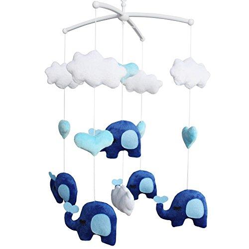Super Cute Infant Crib Musical Mobile, Handmade Hanging Plush Toys [Elephant]