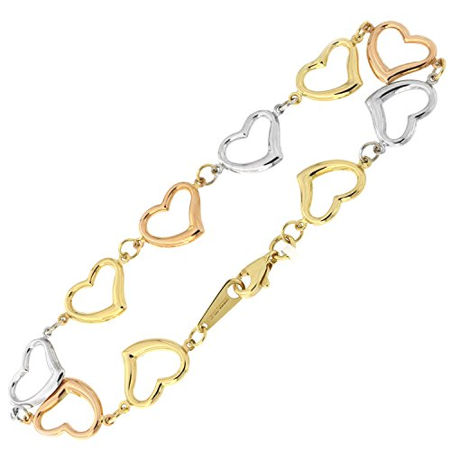 14k Yellow, White and Rose Gold Tri-Color Open Heart Link Bracelet, 7.5