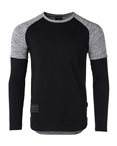 (ZIMEGO Mens Twofer Contrast Layered Long Sleeve Round Bottom Hipster T Shirts Black/Heather Grey)