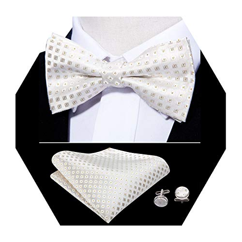 (Barry.Wang Mens White Bow Tie Set Check Pre-tied Silk Tie Hankerchief Cufflinks Set)