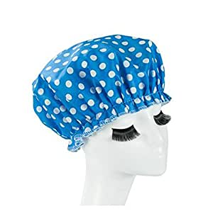 Eslite Waterproof Double Layers Shower Caps for Women, (Blue, White Dot)