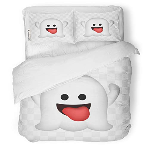 SanChic Duvet Cover Set Emoji Cute Ghost on Halloween Emoticon Abstract Black Decorative Bedding Set with Pillow Sham Twin Size