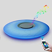 24W Dimmable LED Ceiling Light with Music Bluetooth Speaker Modern Mount Light Fixture, RGB Color Change Warm/Cool White, 6500K Home Party Lighting for Bedroom Living Room Dining Room Wedding