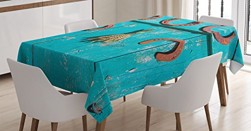 Ambesonne Western Decor Tablecloth by, Five Antique Rusty Luck Symbol Horseshoe and Wheat Ears Bunch on Old Rustic Wooden Farm Barn Door, Dining Room Kitchen Rectangular Table Cover, 60 X 90 Inches