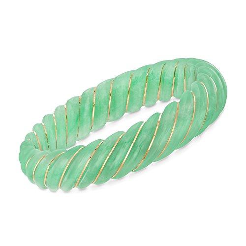 Ross-Simons Carved Green Jade Bangle Bracelet With 14kt Yellow - Bracelet Gold Jade Green 14kt