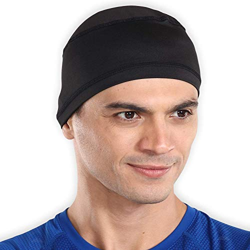 Tough Headwear Sweat-Wicking Helmet Liner Cooling Skull Cap for Men & Women - Absorbent & Evaporative Under Hard Hat Cushion - UPF 45 Sun Protection & Mesh Top Airway Cooling