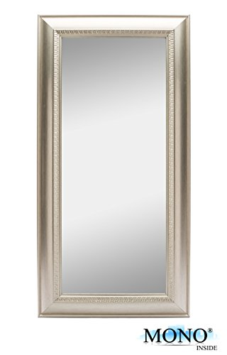 "MONOINSIDE® Framed Decorative Wall Mount Mirror, Classic and Retro Style, Plastic Frame, 24"" x 12"" Inches, Smooth Silver Finish"