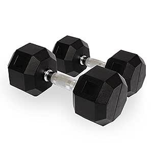 GARIHS Fitness - Mancuerna fija de goma (Hexagun) - 7,5 kg x 2 ...