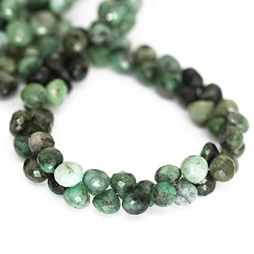 Natural Gems Jewelry Natural Green Emerald Faceted Onion Drop Briolette Loose Gemstone Craft Beads Strand 8