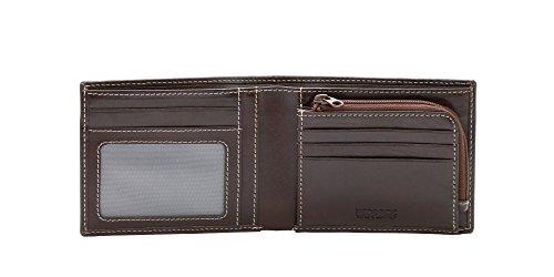 Backstein Quintin (Luxus Geldbörse Herren Leder braun für Kreditkarten, Banknoten, ID Fenster & Reißverschluss Münzen Tasche in Geschenkverpackung