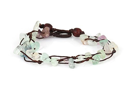Fluorite Green Bracelet - MGD, Purple and Green Fluorite Color Bead Bracelet, 2-strand. Beautiful Handmade Stone Wrap Bracelet made from wax cord. Fashion Jewelry for Women, Teens and Girls, JB-0065