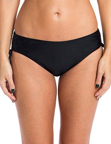 Ocean Blues Women's Swim Standard Adjustable Waist Bikini Bottom, Black, Medium