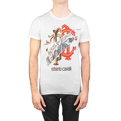 Cavalli Men Shirt - Roberto Cavalli Men's Cotton Logo Graphic T-Shirt White