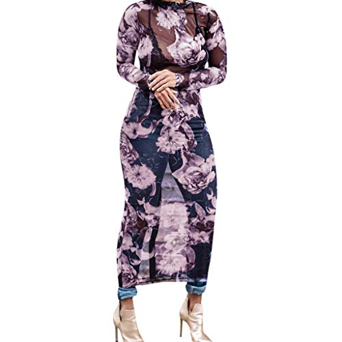 (Cardigo Women Perspective Floral Printed Bohemia Muslin Sundress Voile Long Dress Purple)