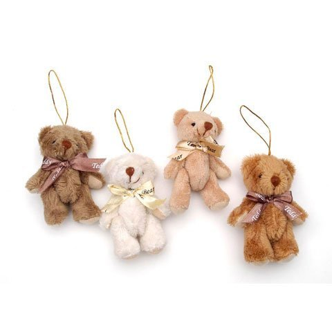 Crafts Plush Bear Gold String Hanger Assorted 3 in (12-Pack) 1647-98 ()