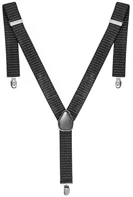 35mm Navy with White Dots Men's Trouser Suspenders Braces Y Shaped Metal Clip On