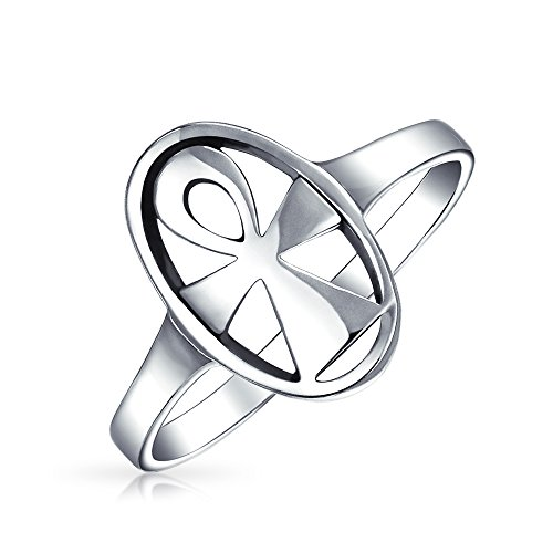 (Eternal Key Of Life Religious Oval Signet Egyptian Ankh Cross Ring For Women For Men 925 Sterling Silver )