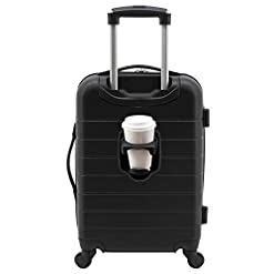 Travel Junkie 41ygEfoQCXL._SS247_ Wrangler Smart Luggage Set with Cup Holder and USB Port, Black, 20-Inch Carry-On