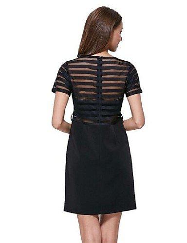 PU&PU Robe Aux femmes Gaine Simple,Mosaïque Col Arrondi Au dessus du genou Polyester , black-l , black-l
