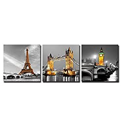 Shuaxin Modern Canvas Printing Wall Artwork Famous Building Eiffel Tower London Bridge Big Ben Clock Tower Print on Canvas for Home Living Room Decoration 16x16inchx3 With DIY Wood Frame