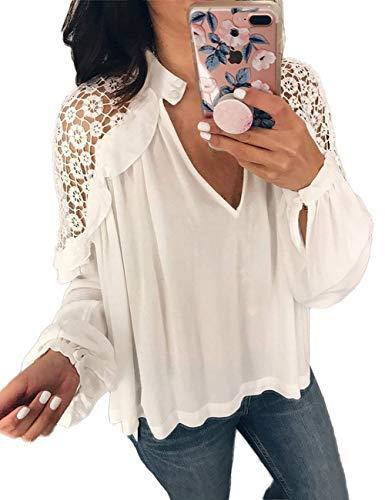 Chemisier Chemise Nues Splicing Mode Creux Vintage Longues Tops Automne Femme Chemise Spcial en Chemisiers V Profond lgant Blouse Manches Style Col Blanc Button Uni Manche Printemps Classique qHSZw1