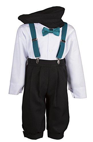 Tuxgear Boys Black Knickers Set Pageboy Cap Teal Suspenders & Bow Tie (7 ()