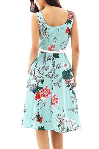 en Vintage Hepburn Soire Robe 60's Robe Classique Partie Cocktail Vert Style fleur 50's YMING Audrey de pOIxwO7