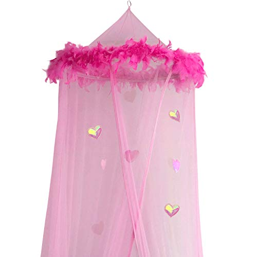 Girls Canopy (Boho and Beach Princess Feather Boa Bed Canopy Mosquito Net for Girls with Sparkly Hearts, Pink)