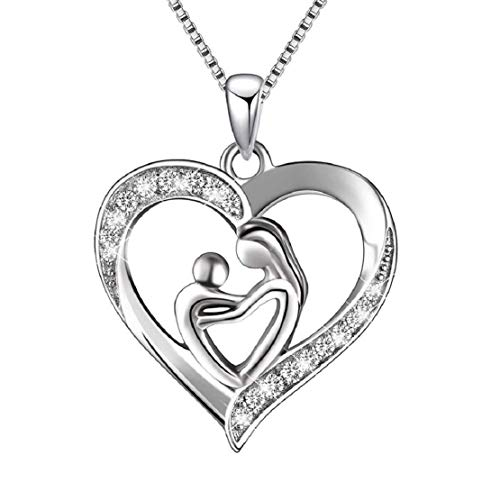 Vacally Fashion Silver Jewelry Mother's Love Micro-Inlay Necklace Shine Exquisite Diamond Necklace Jewelry Mother Lover Gift Casual Joker Charming Elegant Pendant]()
