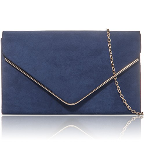 New Designer Ladies Prom Suede Leather Bags Xardi London Faux Women Envelope Evening Navy Clutch SzxR4wRW
