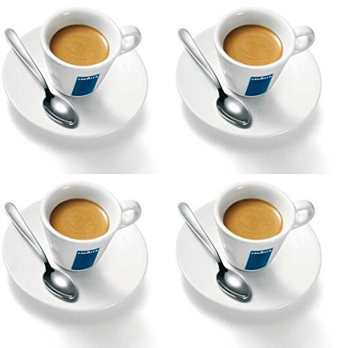 4 x Lavazza Espresso Cups and Saucers with Spoons AU-E6UB-F7D7