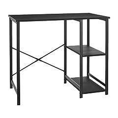 Computer desk with black shelf
