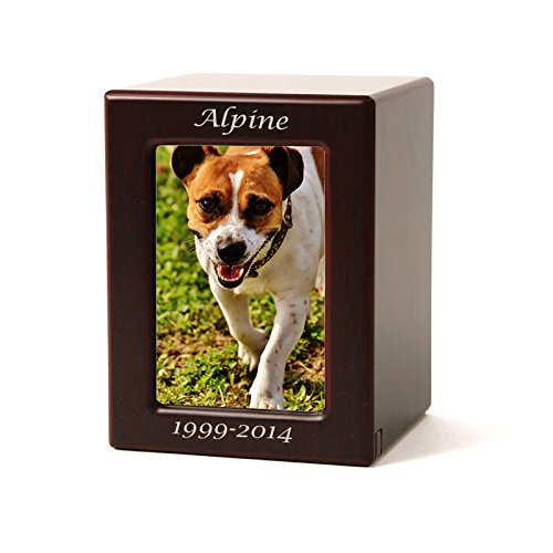 Photo Frame Wood Memorial Pet Urn - Small with Engraving - Holds Up to 40 Cubic Inches of Ashes - Brown Cremation Urn for Cat, Dog - Custom Engraving Included