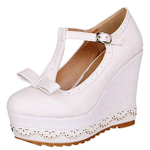 Strap Zuban Fashion Chila White T Pumps Wedge Women Hzpvg
