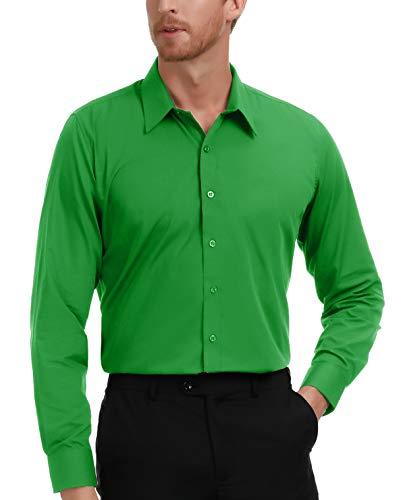 PAUL JONES Men's Business Casual Long Sleeves Dress Shirts Green - Tall And Shirts Men Big