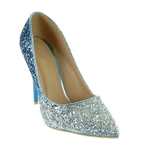 Angkorly - damen Schuhe Pumpe - Stiletto - Dekollete - glitzer - glänzende Stiletto 11 CM Blau