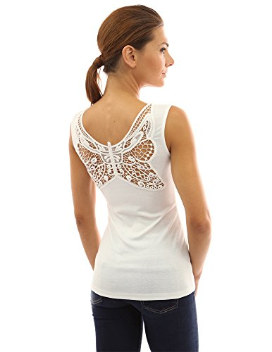 PattyBoutik Women's Butterfly Lace Back Tank Top (Off-White L)