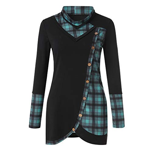 Women Plaid Tunic Sweatshirt  Button Pullover Blouse Long Sleeve Tops