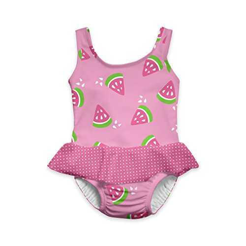 i play. Girls' 1pc Ruffle Swimsuit with Built-in Reusable Absorbent Swim Diaper, Light Pink Watermelon, 12mo ()