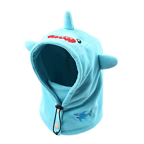 Baby Winter Scarf Hat Cute Warm Kids Boys Girls Earflap Beanie Cap with Telescopic Rope,Buttons,Windproof Mask (L, -