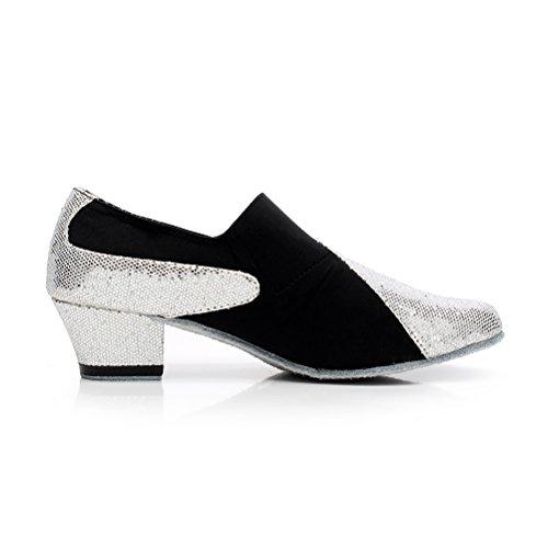 Pompes De Danse De Salon Bcln Womens Chaussures De Soirée Avec 1,6 Talon Noir Et Argent