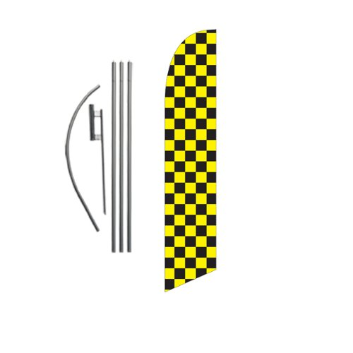 Yellow Checkered Flag - Black and Yellow Checkered 15ft Feather Banner Swooper Flag Kit - INCLUDES 15FT POLE KIT w/ GROUND SPIKE